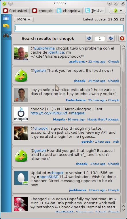 choqok 1.2 Choqok 1.2 disponible para actualización en Arch Linux