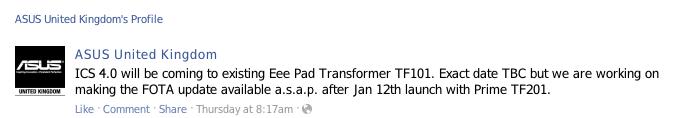 icstransformer Asus Transformer recibirá actualización a Android 4.0 (ICS) después del 12 de enero