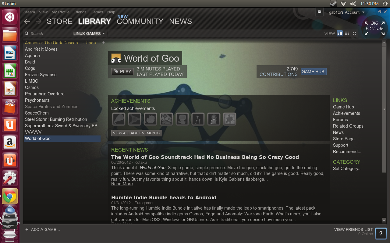 Steam Library Primer vistazo a Steam en Ubuntu 12.10