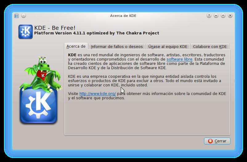 kde4.11.1 KDE SC 4.11.1 y Linux kernel 3.10.10 disponible para Chakra