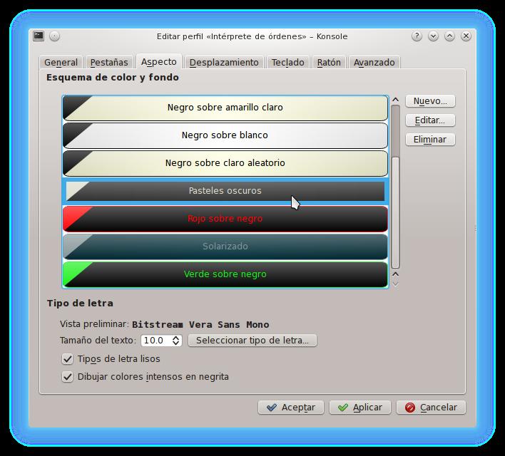 pastelesoscuros KDE4Tips: Embelleciendo el terminal de KDE