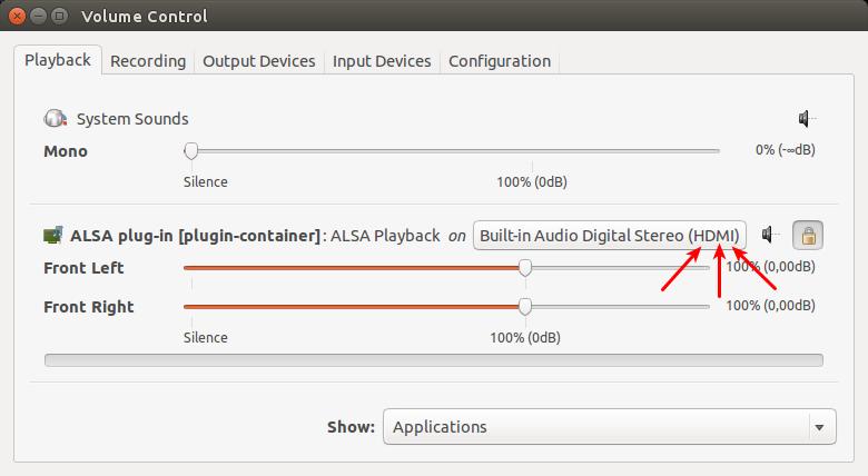 Volume Control 018 Cómo transmitir audio a través de HDMI en Ubuntu 14.04